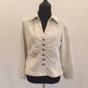 Jackets & Blazers - Cream Corduroy Lightweight Blazer Jacket